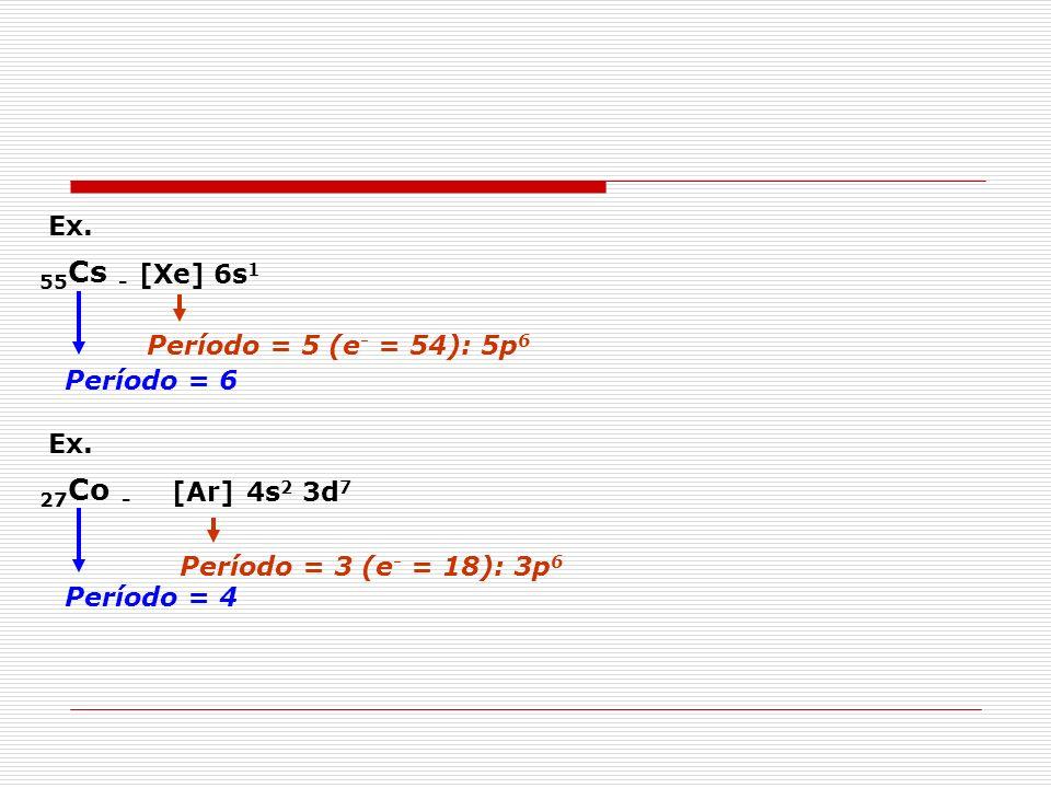 55Cs - 27Co - Ex. [Xe] 6s1 Período = 6 Período = 5 (e- = 54): 5p6 Ex.